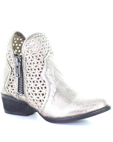 Corral Women's Silver Cut Out Fashion Booties - Round Toe, Silver, hi-res