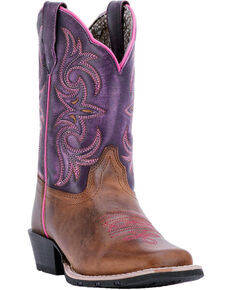 Dan Post Girls' Majesty Brown/Purple Western Boots - Square Toe, Brown, hi-res