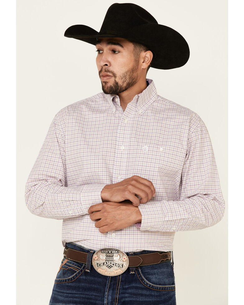 George Strait By Wrangler Men's Pink Small Plaid Long Sleeve Western Shirt - Big, Pink, hi-res