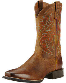 Ariat Powder Brown Sport Herdsman Cowboy Boots - Square Toe, Brown, hi-res