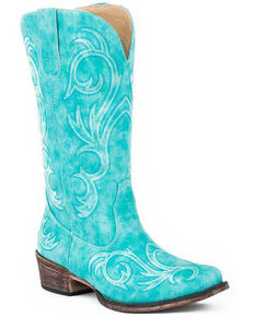 Roper Women's All Over Embroidery Western Boots - Snip Toe, Blue, hi-res