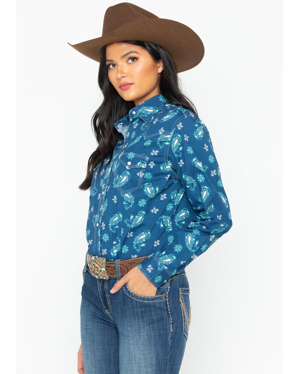 Wrangler Women's Paisley Snap Long Sleeve Western Shirt, Blue, hi-res