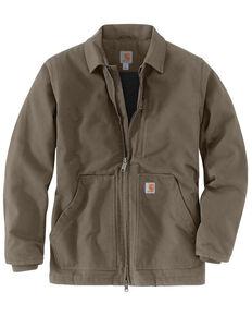 Carhartt Men's Brown M-Washed Duck Sherpa-Lined Work Coat - Big , Medium Brown, hi-res