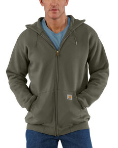 Carhartt Men's Hooded Zip Front Work Hooded Sweatshirt - Big & Tall, Moss Green, hi-res