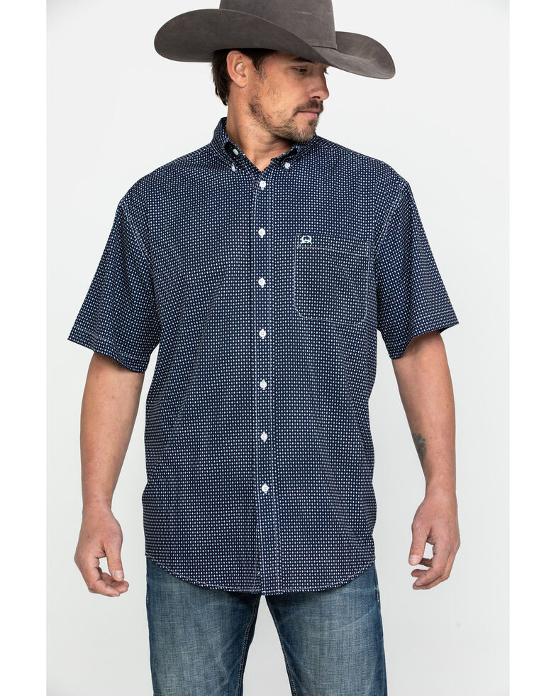 Cinch Men's Navy Geo Print Short Sleeve Western Shirt , Navy, hi-res