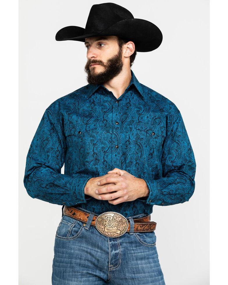 Rough Stock By Panhandle Men's Teal Ventura Paisley Print Long Sleeve Western Shirt , Teal, hi-res