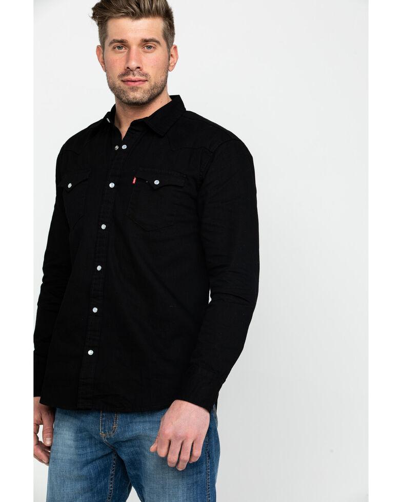Levis Men's Black Denim Long Sleeve Western Shirt , Black, hi-res