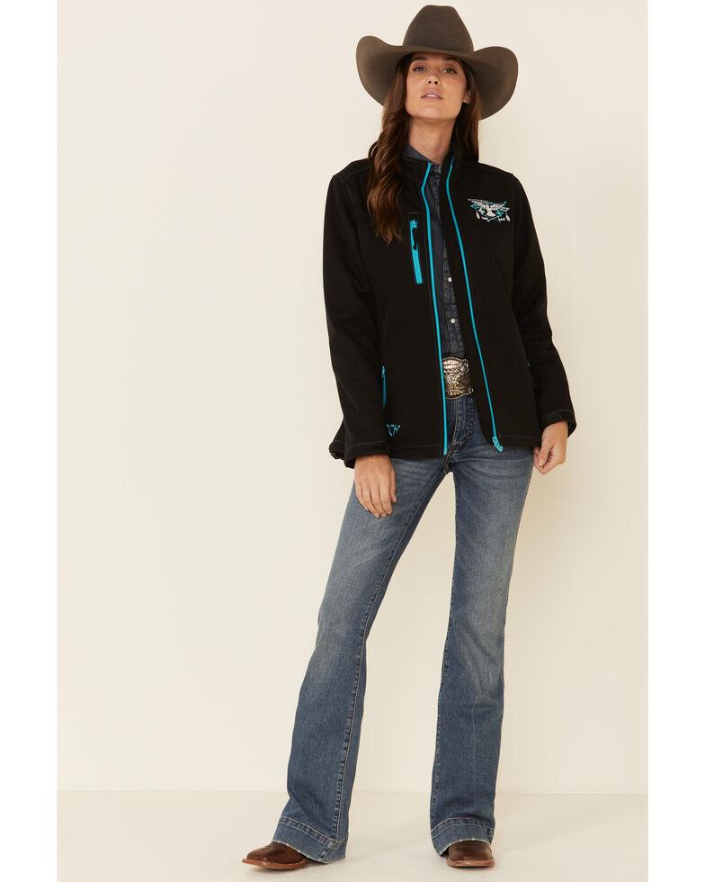 Cowgirl Hardware Women's Black Hawk Embroidered Softshell Jacket, Black, hi-res