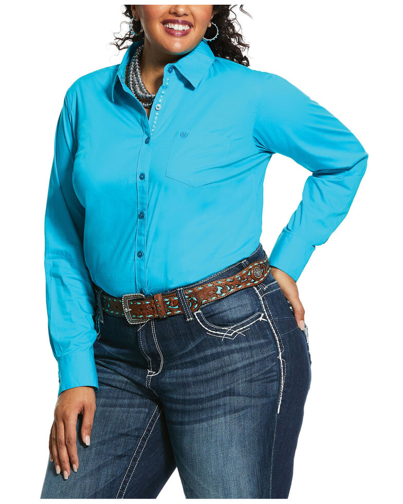 Ariat Women's Kirby Bluebird Stretch Button Down Long Sleeve Shirt - Plus, Turquoise, hi-res