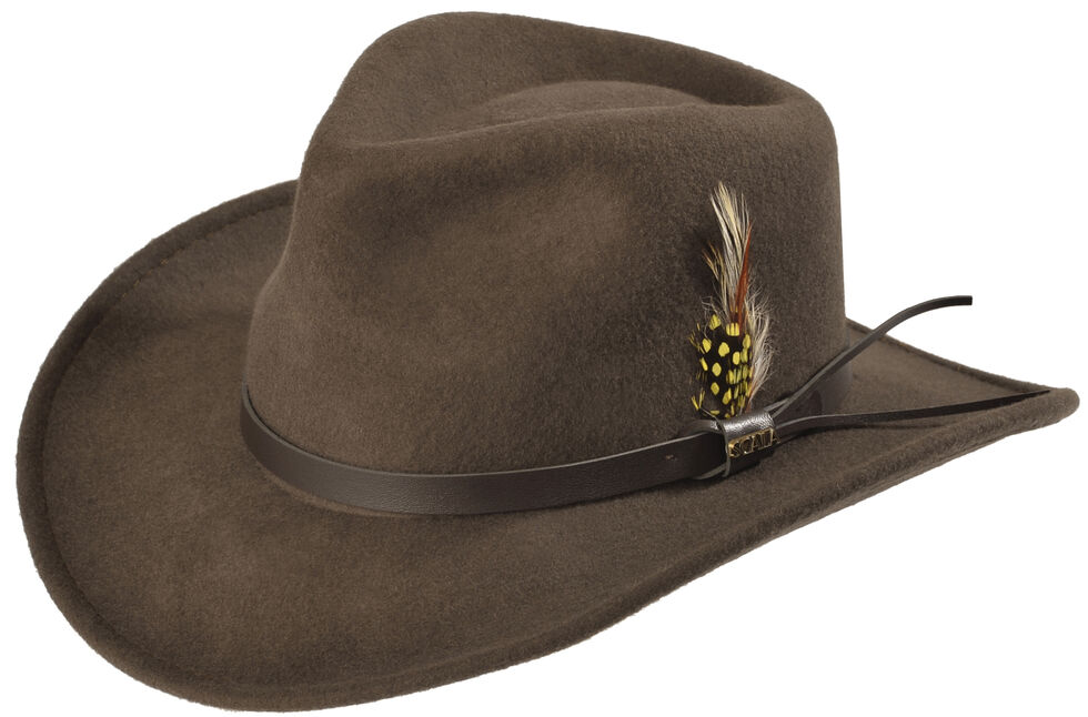 Scala Men's Crushable Pinch Front Wool Outback Hat, Khaki, hi-res