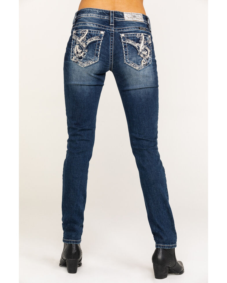Miss Me Women's Dark Wash Music Note Skinny Jeans, Blue, hi-res