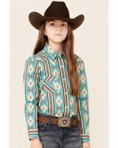 Rock & Roll Denim Girls' Turquoise Aztec Print Long Sleeve Snap Western Shirt , Turquoise, hi-res