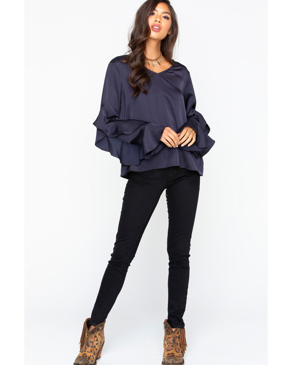 Ariat Women's Women's Satin Hatch Top Ruffle Long Sleeve Blouse , Navy, hi-res