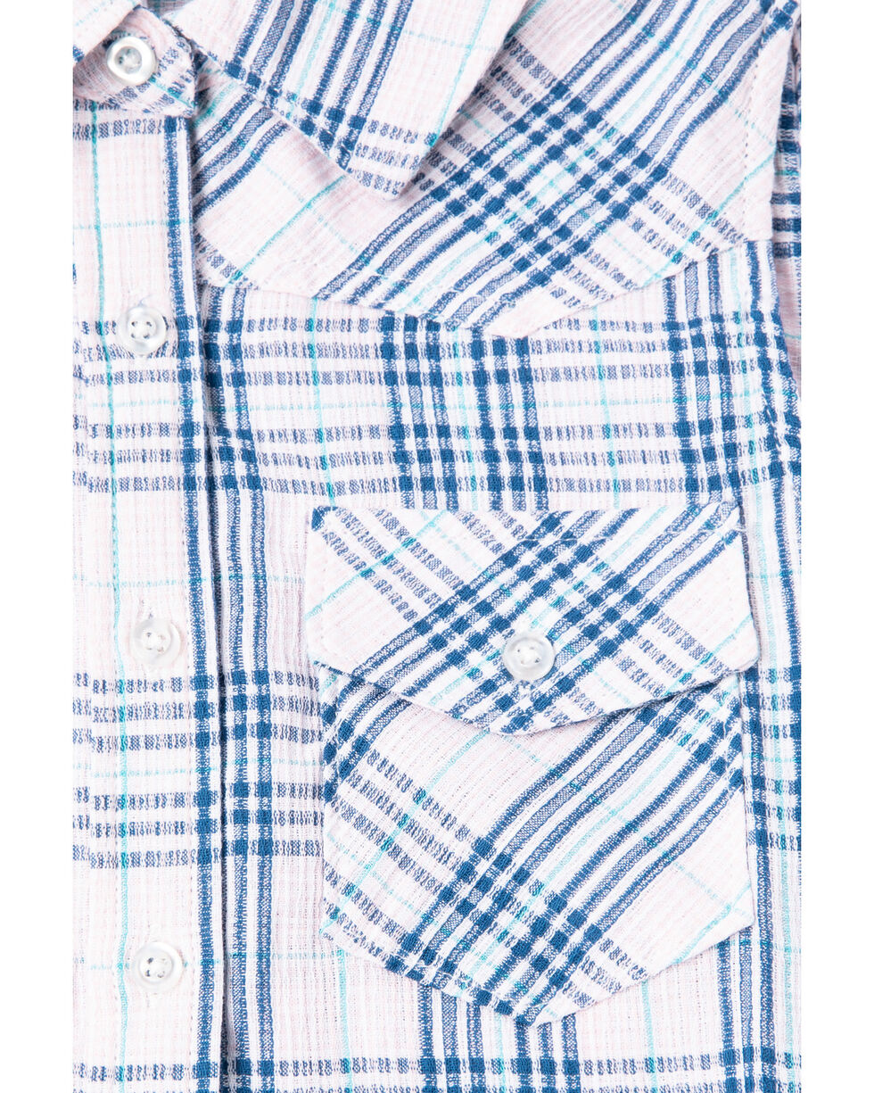Shyanne Girls' Plaid Woven Sleeveless Button Down Shirt, Pink, hi-res