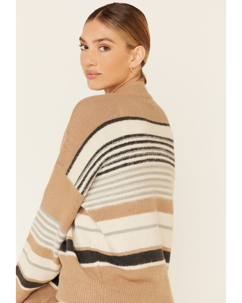 Very J Women's Striped Fuzzy Knit Sweater , Brown, hi-res