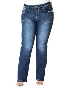 Grace in LA Women's Cross Straight Leg Jeans - Plus, Blue, hi-res