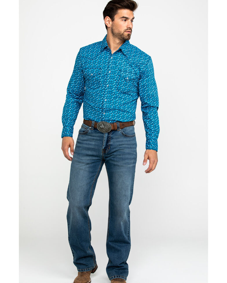 Wrangler 20X Men's Advanced Comfort Competition Geo Print Long Sleeve Western Shirt , Blue, hi-res