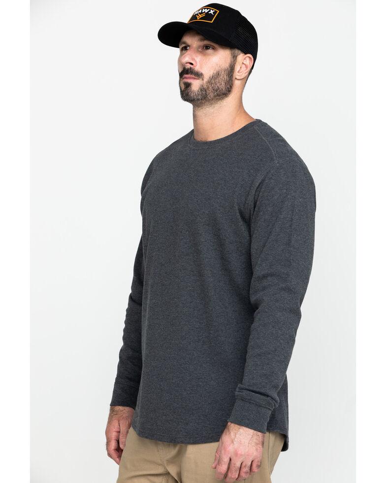 Hawx Men's Grey Solid Asphalt Thermal Crew Long Sleeve Work Shirt , Charcoal, hi-res