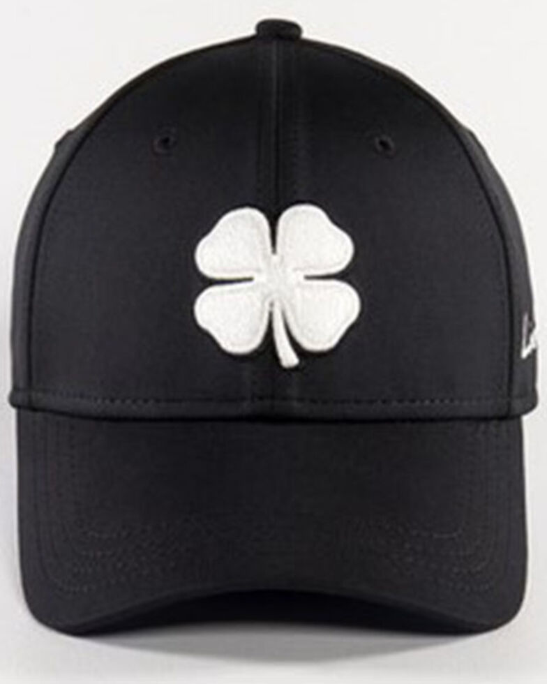 Black Clover Men's #41 Premium White Lucky Logo Flex-Fit Ball Cap , Black, hi-res