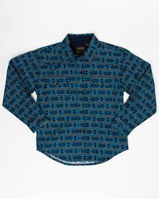 Roper Boys' Performance Hex Aztec Print Long Sleeve Western Shirt , Turquoise, hi-res