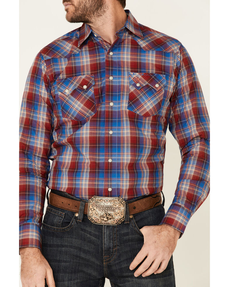 Wrangler Retro Men's Red Large Plaid Long Sleeve Snap Western Shirt , Red, hi-res