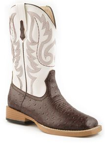 Roper Youth Faux Ostrich Print Cowboy Boots, Brown, hi-res