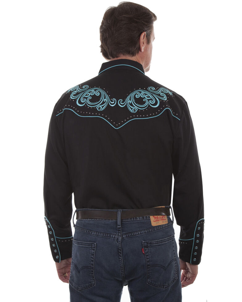 Scully Men's Embroidered Western Shirt, Black, hi-res