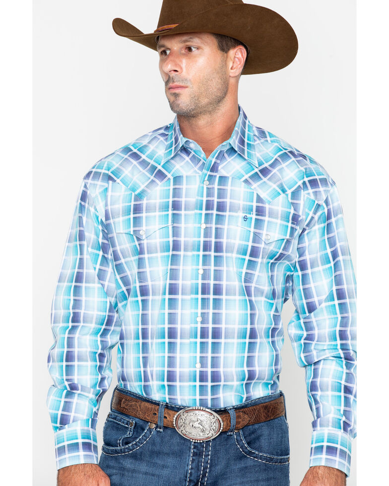 Roper Men's Blue Medium Plaid Snap Long Sleeve Western Shirt , Blue, hi-res