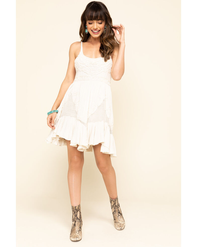 Free People Women's Encrusted Mini Dress, Ivory, hi-res