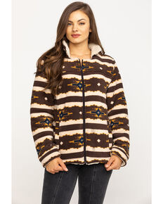 Outback Trading Co. Women's Brown Aztec Fleece Dawn Jacket, Brown, hi-res