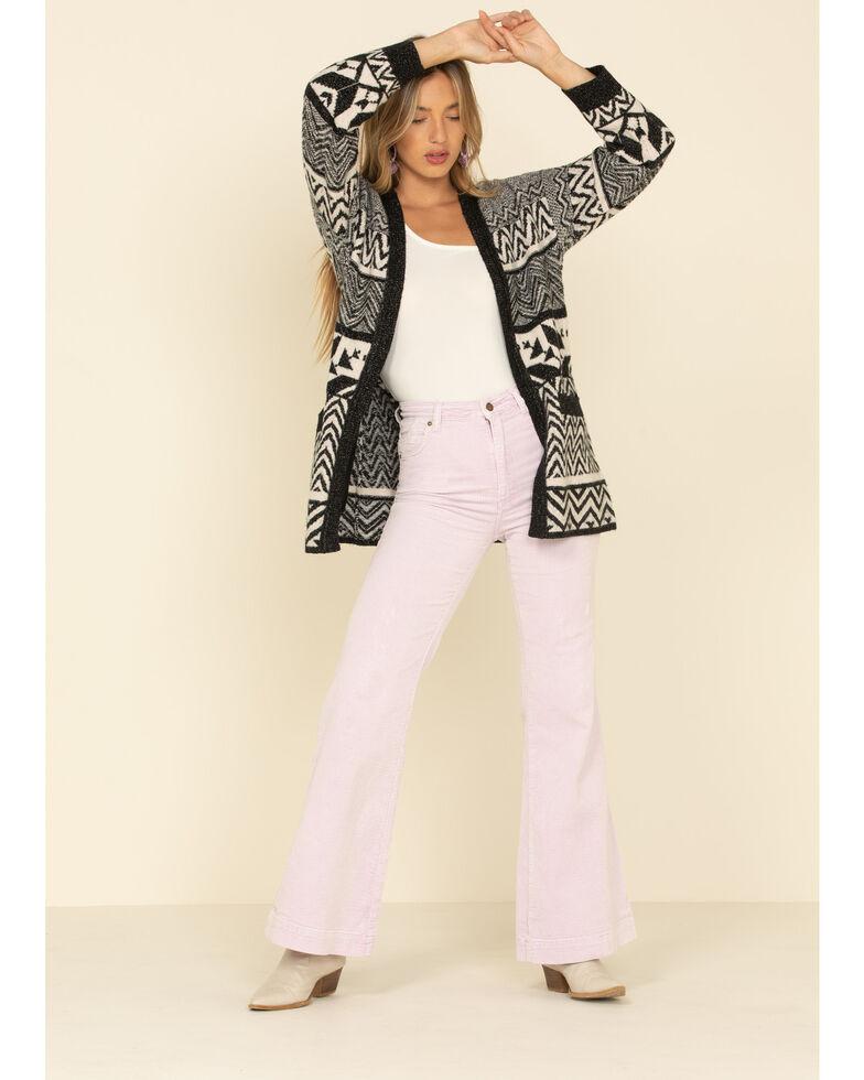 Shyanne Women's Black Patchwork Leopard Open Front Cardigan Sweater, Black, hi-res