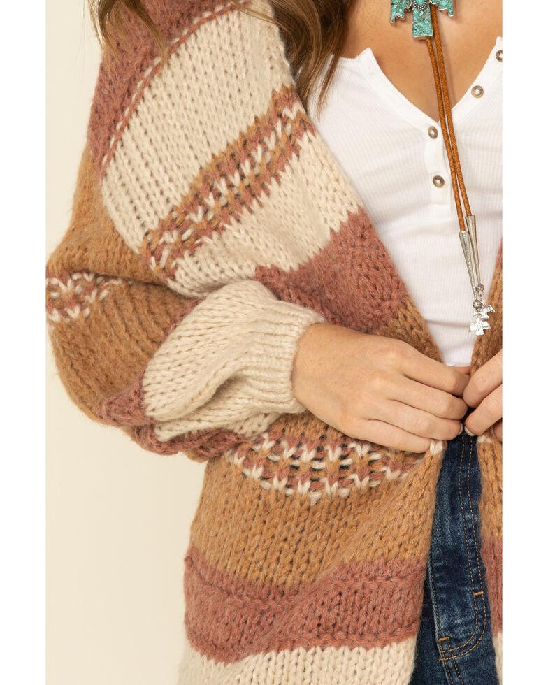 Elan Women's Striped Open Cardigan , Mauve, hi-res