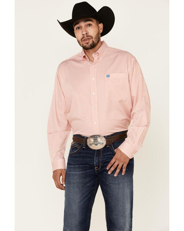 Cinch Men's Orange Tencel Striped Long Sleeve Western Shirt , Orange, hi-res