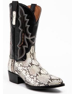 Dan Post Men's Natural Python Cowboy Boots - Snip Toe, Black, hi-res