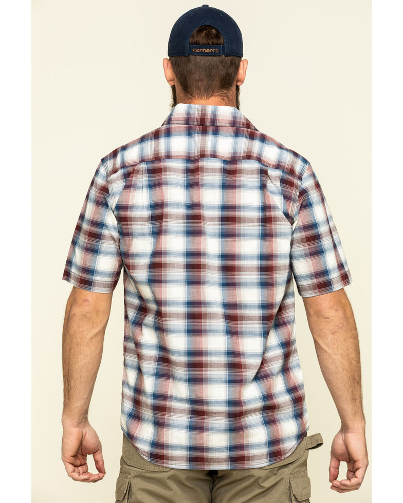 Carhartt Men's Red Rugged Flex Bozeman Plaid Short Sleeve Work Shirt - Big , Red, hi-res