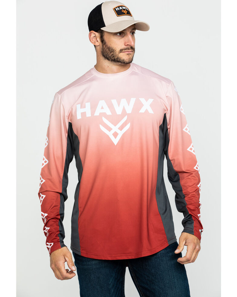 Hawx Men's Red Camo Moto Chest Logo Performance Long Sleeve Work T-Shirt , Red, hi-res