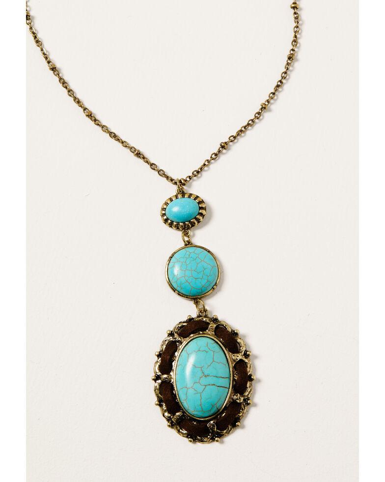 Shyanne Women's Golden Dreamcatcher Turquoise Stone Pendant Necklace, Gold, hi-res