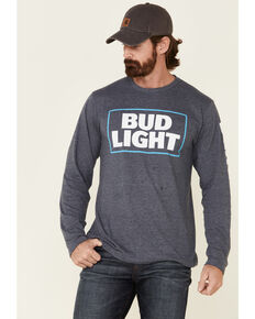 Brew City Beer Gear Men's Bud Light Logo Graphic Long Sleeve T-Shirt , Navy, hi-res
