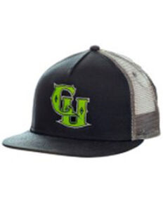 Cowboy Up Men's Black & Lime Green Logo Mesh-Back Ball Cap , Black, hi-res