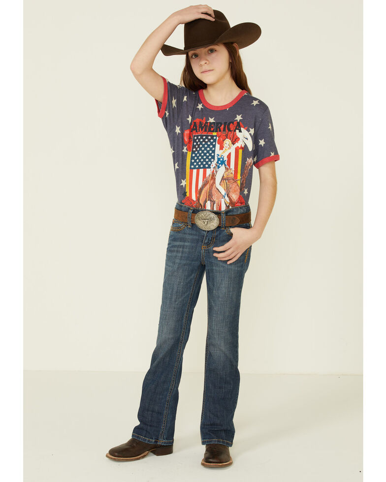 Rodeo Quincy Girls' Star Print America Graphic Short Sleeve Ringer Tee , Navy, hi-res