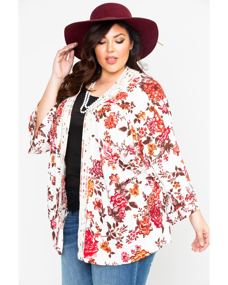 39c015a6a6b Eyeshadow Women s Floral Crochet Kimono- Plus Size - Country Outfitter
