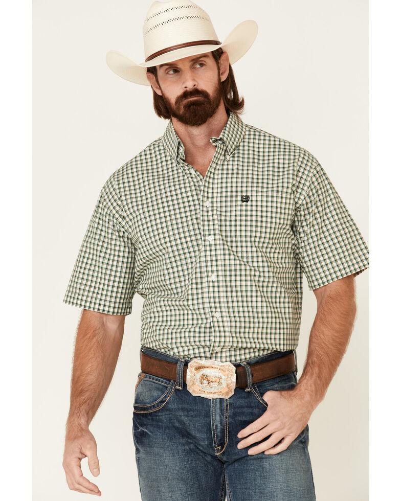 Cinch Men's White Small Plaid Short Sleeve Button-Down Western Shirt, White, hi-res