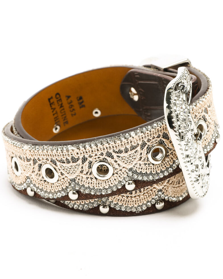 Shyanne Girls' Bling Lace Belt, Brown, hi-res