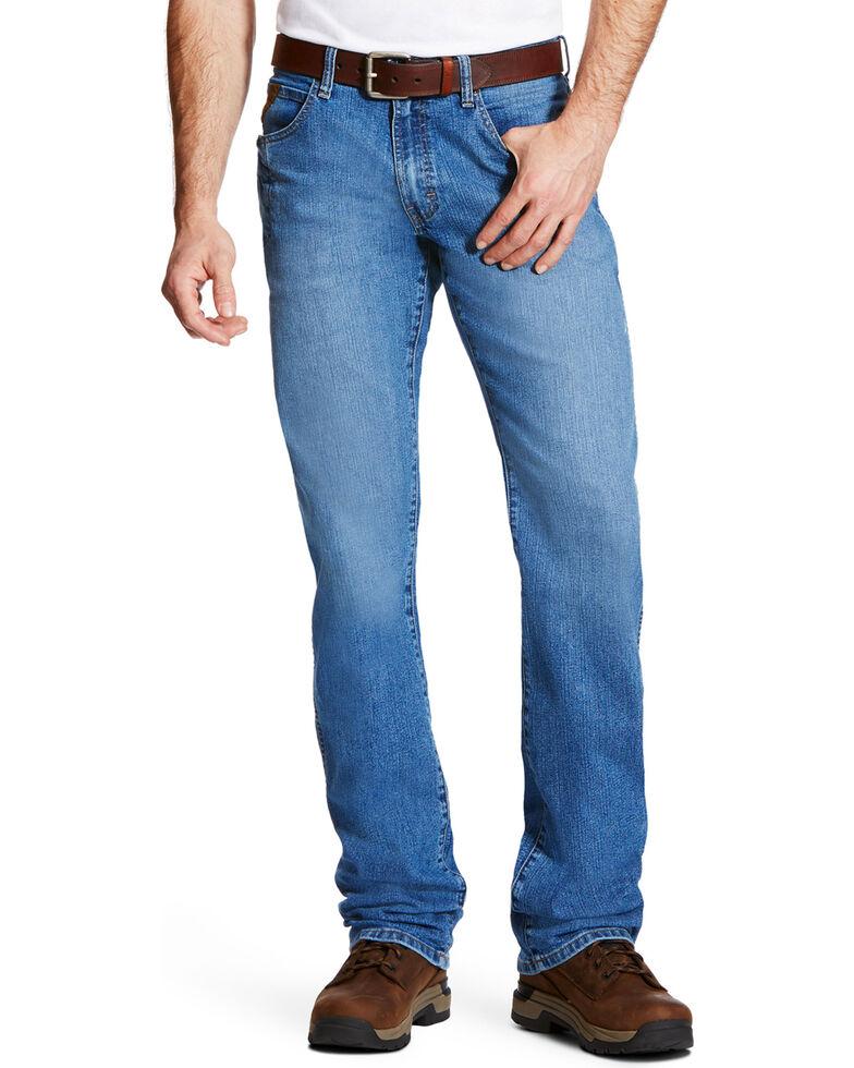 Ariat Men's Rebar M4 Blue Haze Low Rise Bootcut Work Jeans , Blue, hi-res