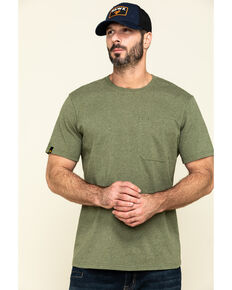 Hawx Men's Olive Solid Pocket Short Sleeve Work T-Shirt - Tall , Olive, hi-res
