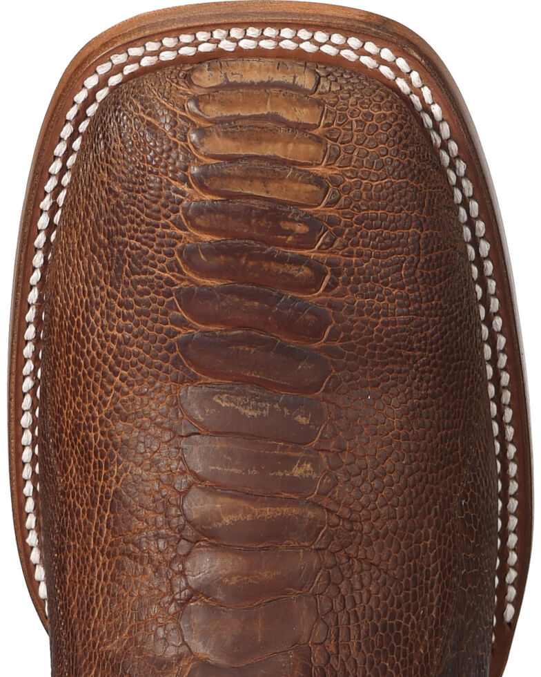 Cody James Two Toned Ostrich Leg Exotic Boots - Square Toe , Brown, hi-res