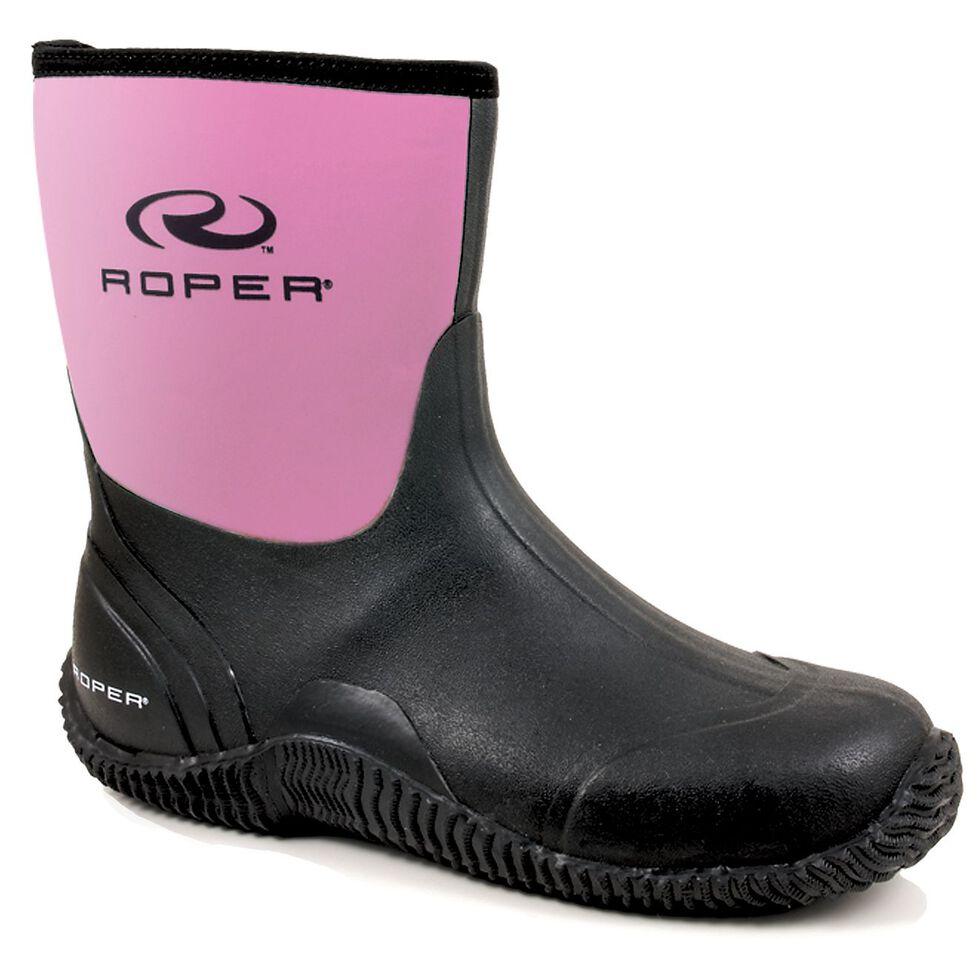 Roper Neoprene Barnyard Boots - Round Toe, Pink, hi-res