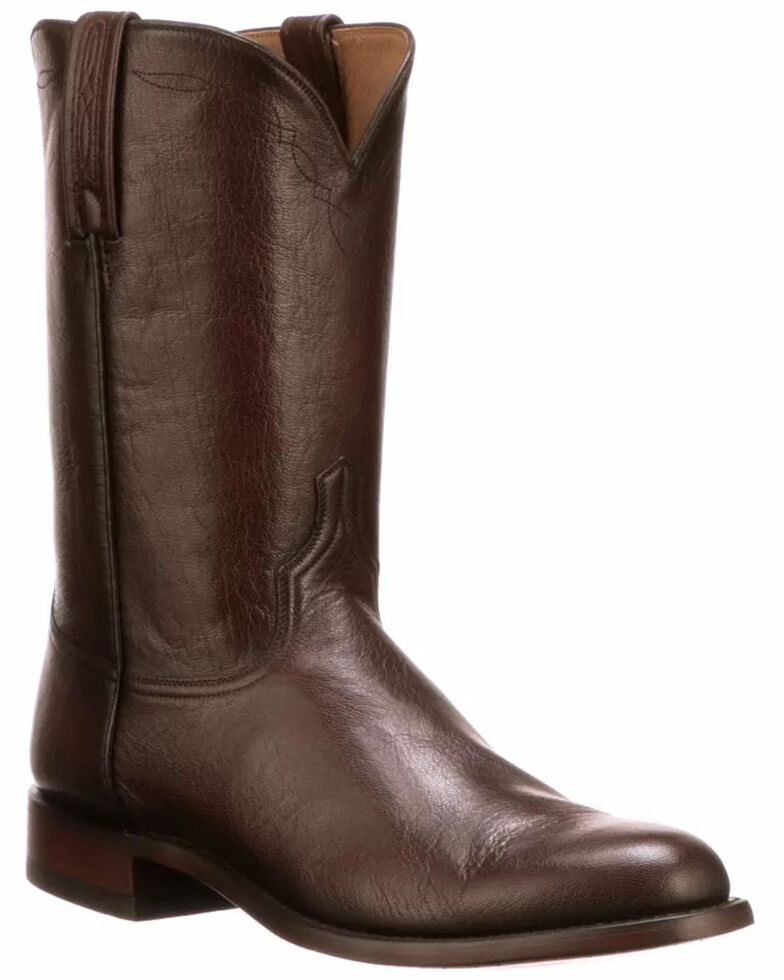 Lucchese Men's Brown Majestic Roper Western Boots - Round Toe, Brown, hi-res