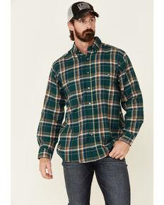 Wrangler Rugged Wear Men's Green Blue Ridge Long Sleeve Western Flannel Shirt , Green, hi-res