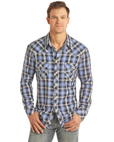Rock & Roll Cowboy Men's Blue Large Crinkle Plaid Long Sleeve Western Shirt - Big , Blue, hi-res